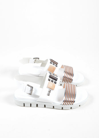 Vic  White and Silver Leather Studded Slingback Flat Footbed Sandals Sideview