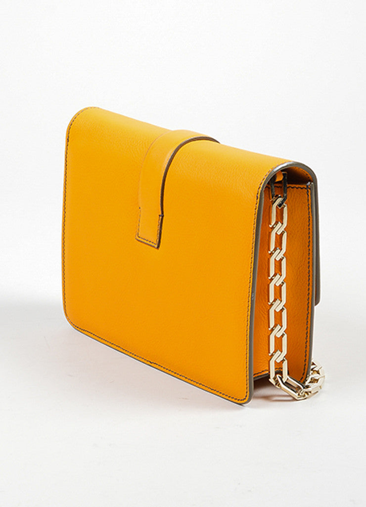 Orange Victoria Beckham Leather Mini Chain Satchel Bag Sideview