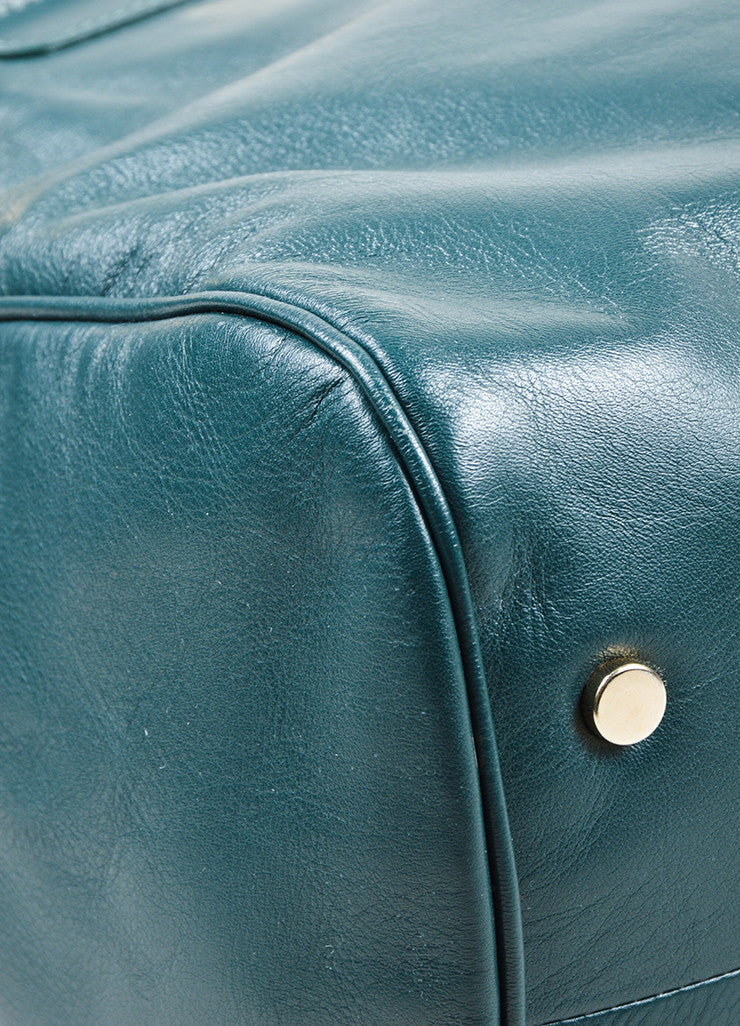 "Hunter Green Viktor & Rolf Leather Top Handle ""Bombette"" Satchel Bag Detail"