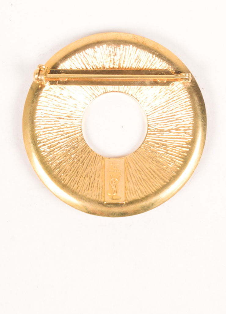 Yves Saint Laurent Gold Toned, Navy, and Red Enamel Color Block Circle Brooch Pin Backview