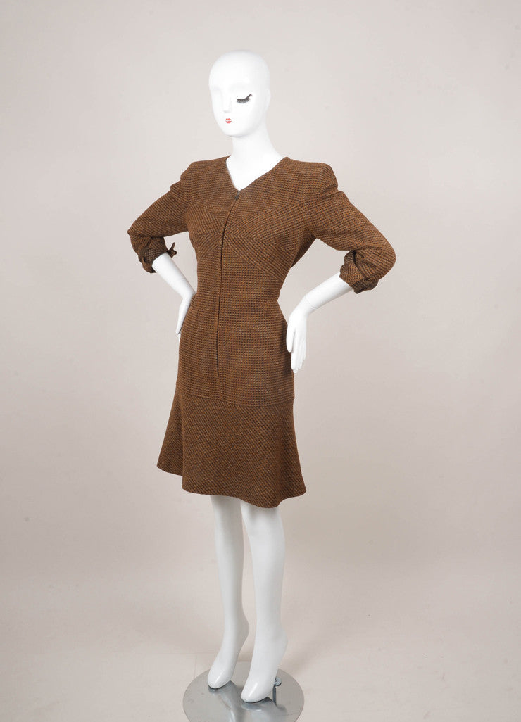Brown and Black Wool Checker Knit Zip Dress