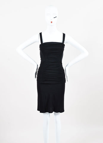 Alaia Black Ruched Back Cut Out Sleeveless Crisscross Strap Cocktail Dress Frontview