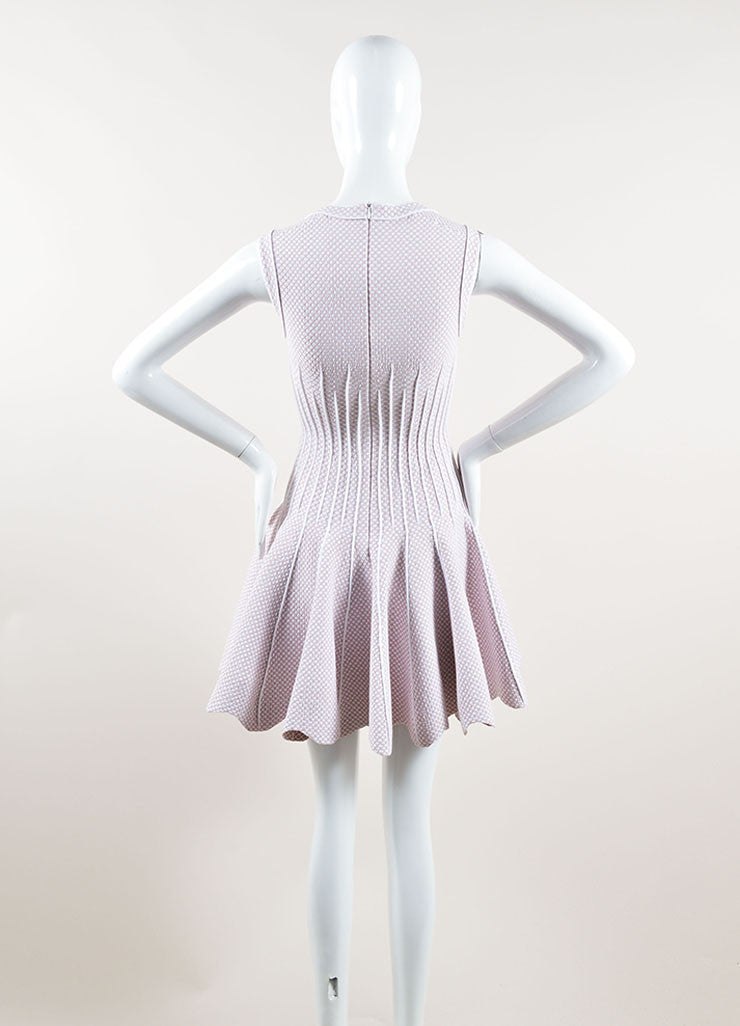 Alaia Light Pink and White Stretch Knit Scoop Neck Spotted Flare Dress Backview