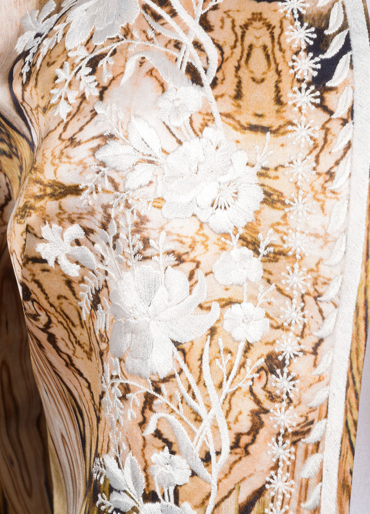 Alexander McQueen New With Tags Wood Grain Print Floral Embroidered Jacket Detail