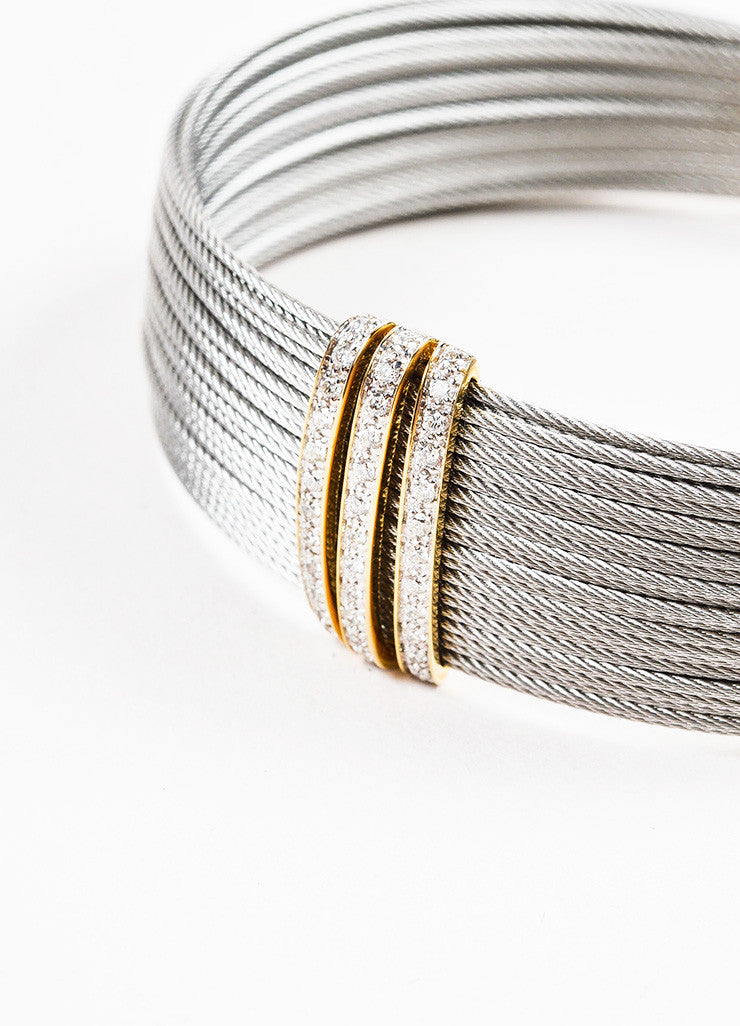 Alor Grey Stainless Steel 18K Yellow Gold Diamond Cable Bracelet Detail