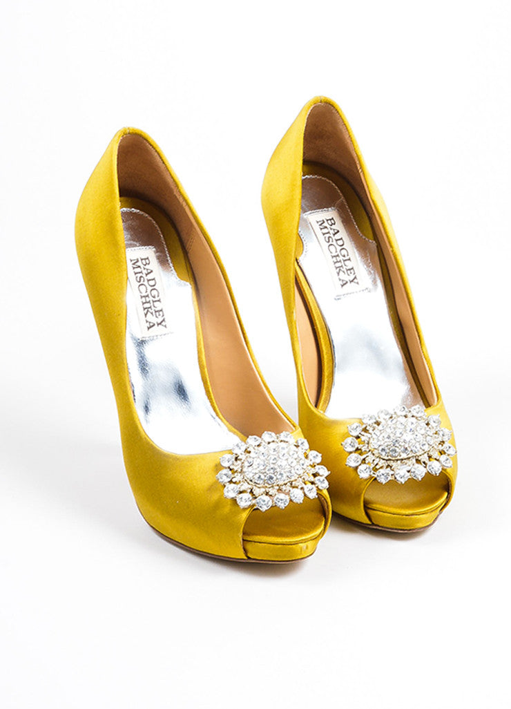 Badgley Mischka Chartreuse Satin Rhinestone Embellished Peep Toe Pumps Frontview