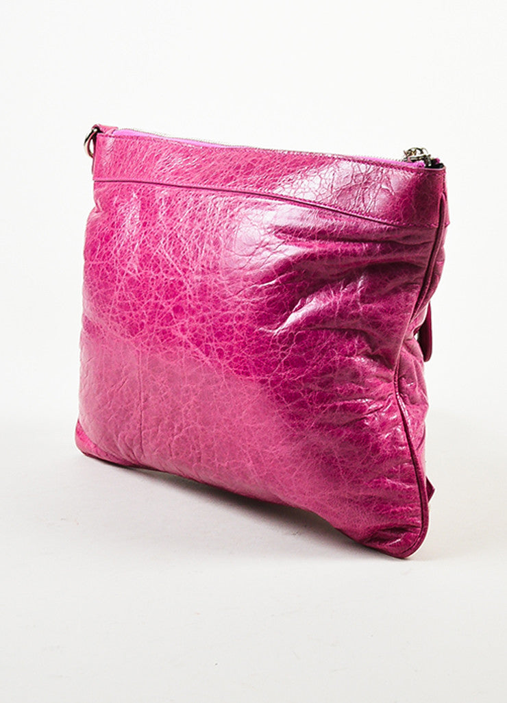 "Balenciaga Pink Leather Silver Toned Studded ""Giant 21 Wristlet Clutch"" Bag Sideview"
