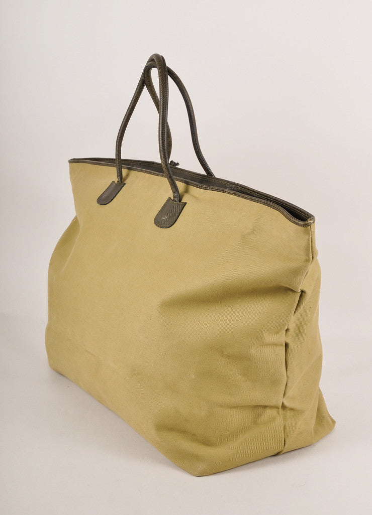 Bottega Veneta Olive Green Canvas and Leather Weekender Tote Bag Sideview