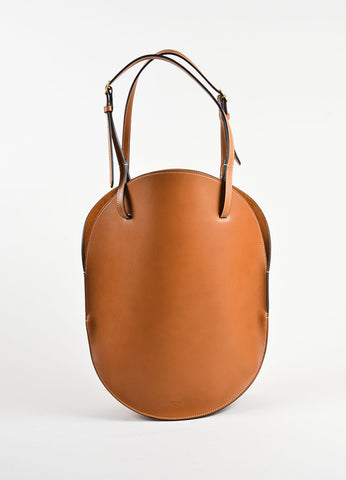Celine Cognac Brown Leather Buckle Strap Oval Hobo Bag Frontview