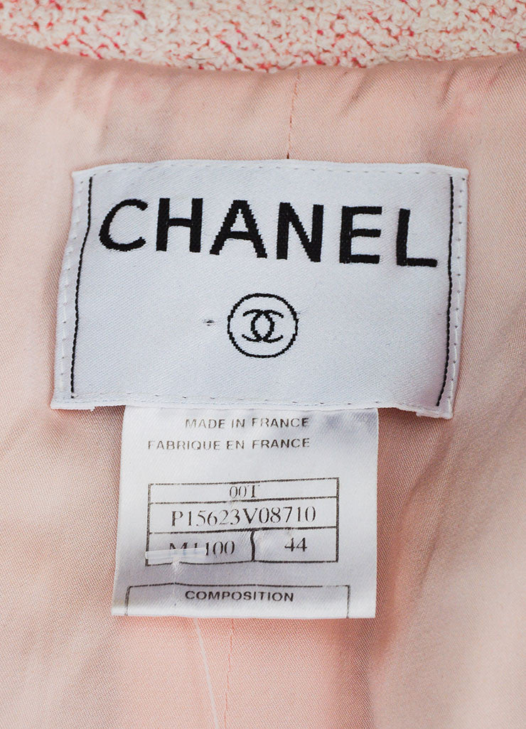 Pink and White Chanel Boucle Knit 'CC' Button Jacket Brand