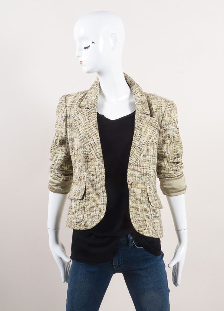 Chanel Cream and Brown Woven Knit Patterned Long Sleeve Jacket Frontview