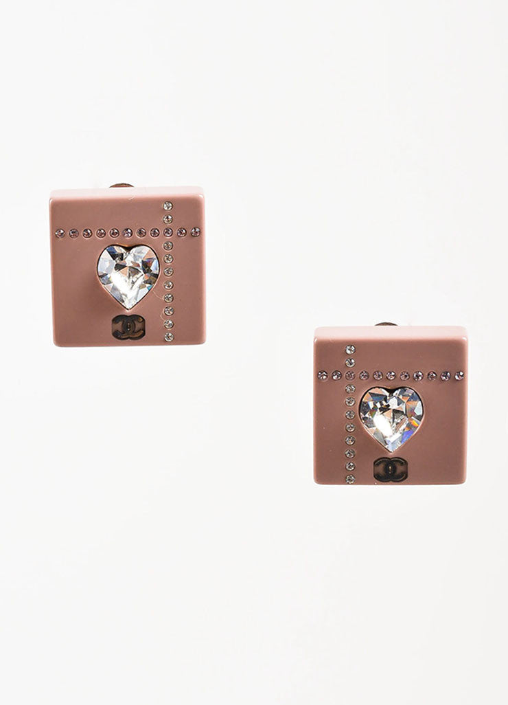 Chanel Pink Resin Rhinestone Crystal Heart 'CC' Logo Square Clip On Earrings Frontview