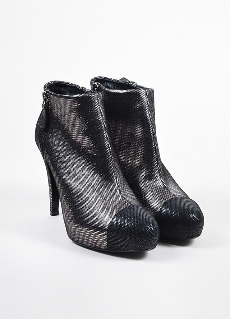 Chanel Black and Silver Metallic Patterned Cap Toe Heeled Booties Frontview