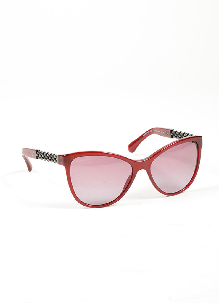 "Red Chanel Acetate ""5326"" Chain Butterfly Sunglasses Side"