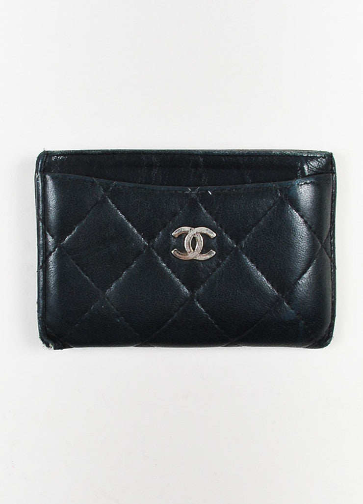 Chanel Black Lambskin Quilted Leather 'CC' Card Holder Frontview