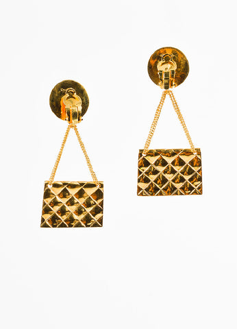 Chanel Gold Toned Quilted Flap Bag 'CC' Coin Dangle Drop Clip On Earrings Backview