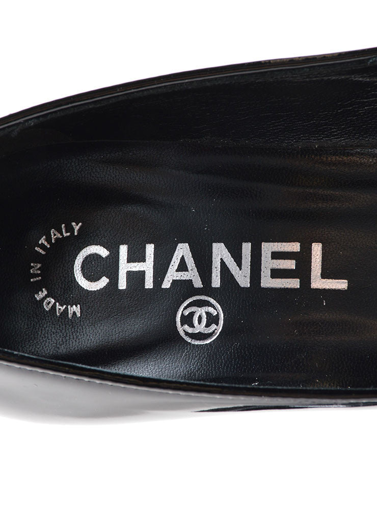 "Chanel Black Patent Leather ""CC"" Logo Bow Detail Almond Toe Pumps Brand"
