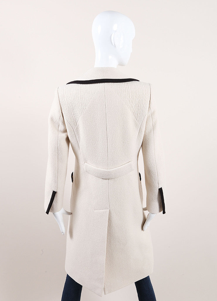 Chloe Cream and Black Wool and Satin Trim Long Sleeve Trench Coat Backview