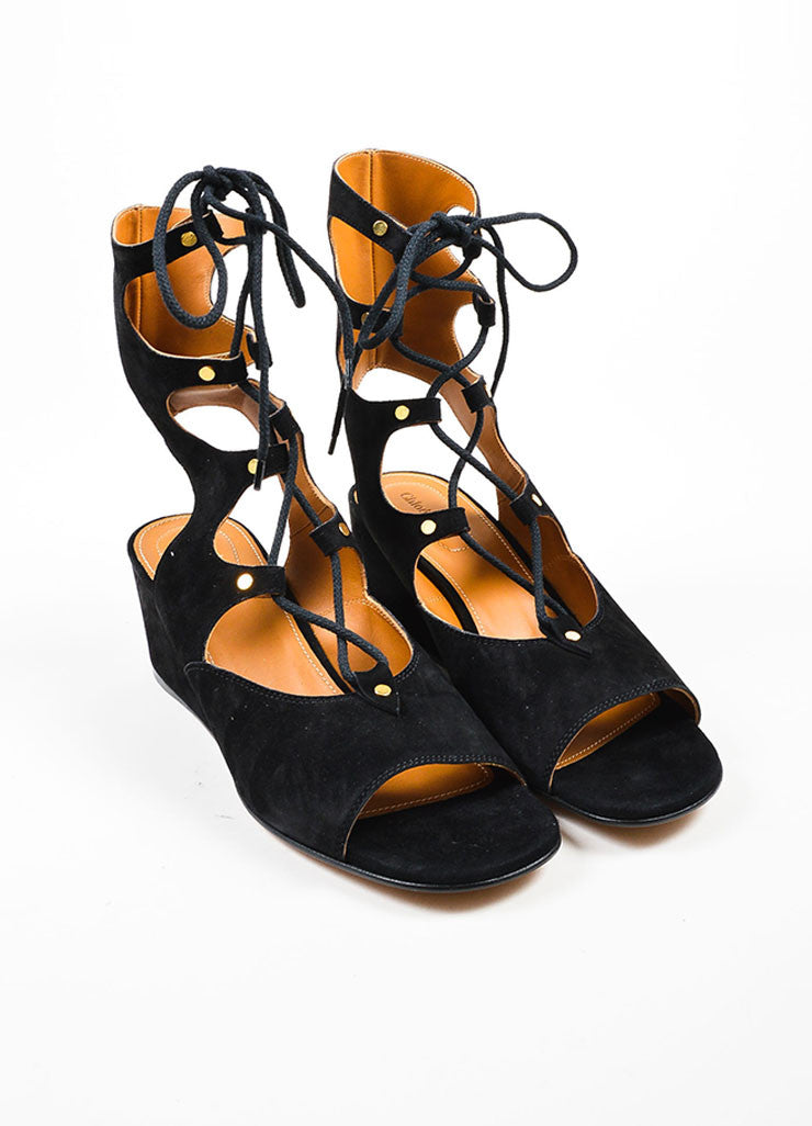 Black Chloe Suede Leather Lace Up Gladiator Wedge Sandals Frontview
