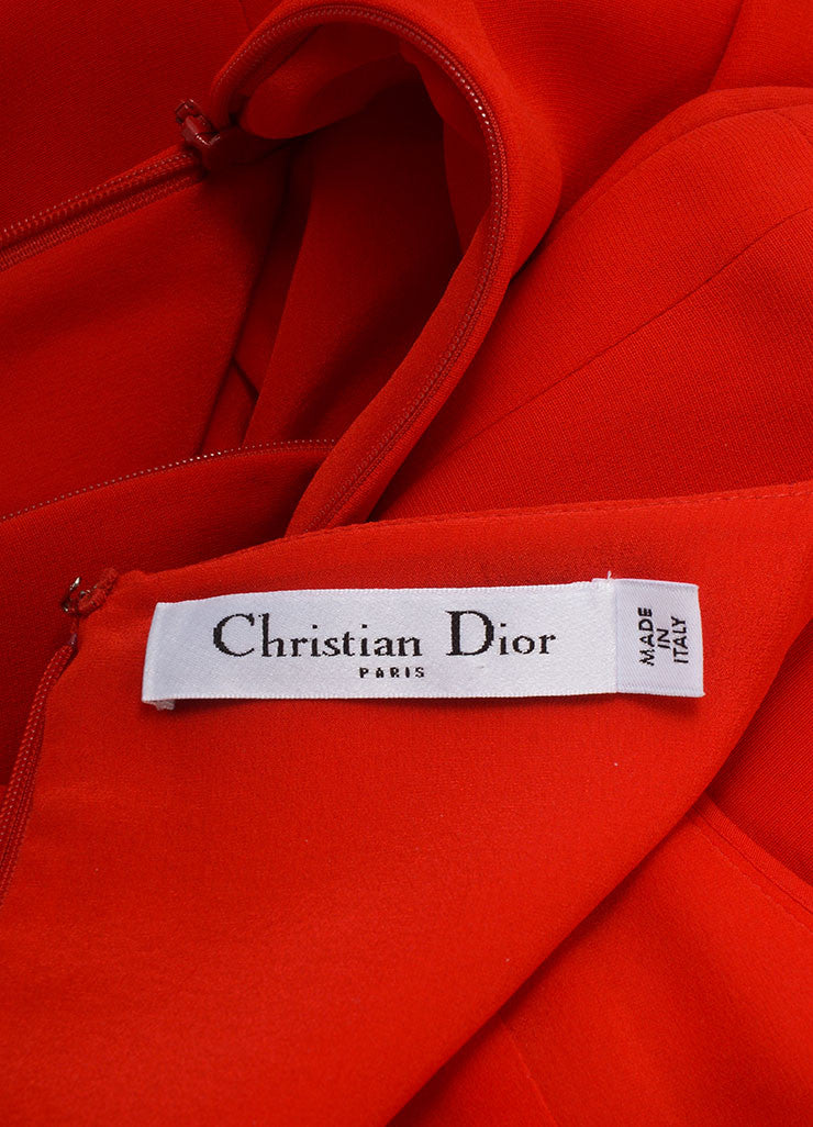Christian Dior New With Tags Red Silk Long Sleeve Asymmetrical Peplum Dress Brand