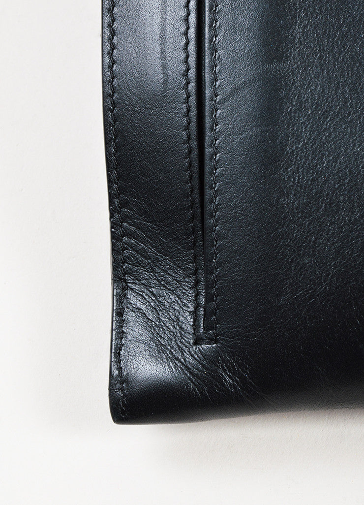 "Black Leather Christian Louboutin ""Sweet Charity Case"" Envelope Clutch Bag Detail"