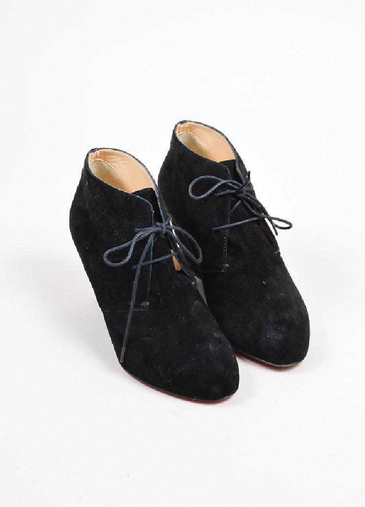 =Black Christian Louboutin Suede Leather Lace Up Wedge Ankle Booties Frontview