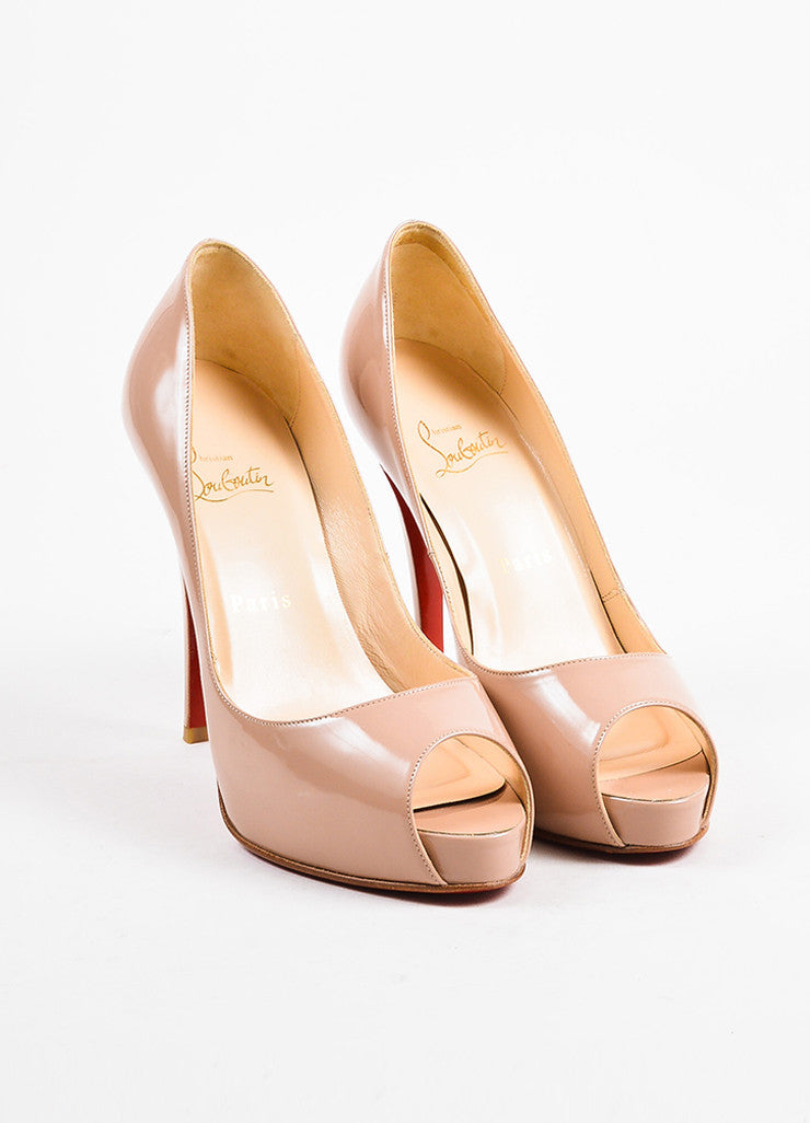 "Christian Louboutin Nude Patent Leather Peep Toe ""Very Prive"" Pumps Frontview"