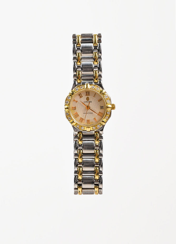 "Concord Stainless Steel, 18K Yellow Gold, and Diamond ""Saratoga"" Bracelet Watch Frontview 2"