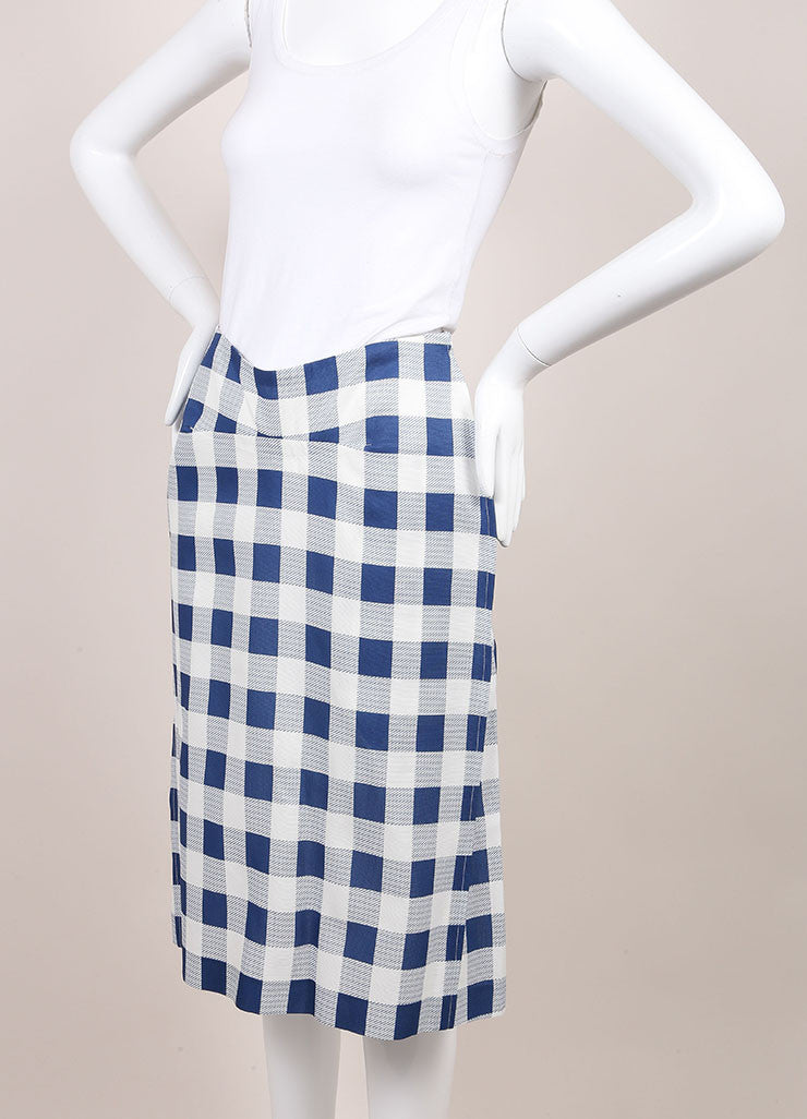 Derek Lam New With Tags Blue and White Checkered Plaid Silk Blend Seamed Skirt Sideview