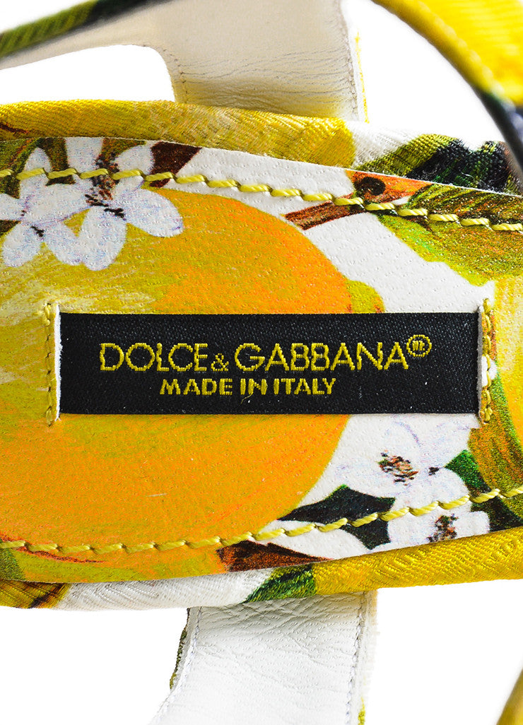 Dolce & Gabbana Yellow and White Brocade Lemon Printed Heeled Sandals Brand