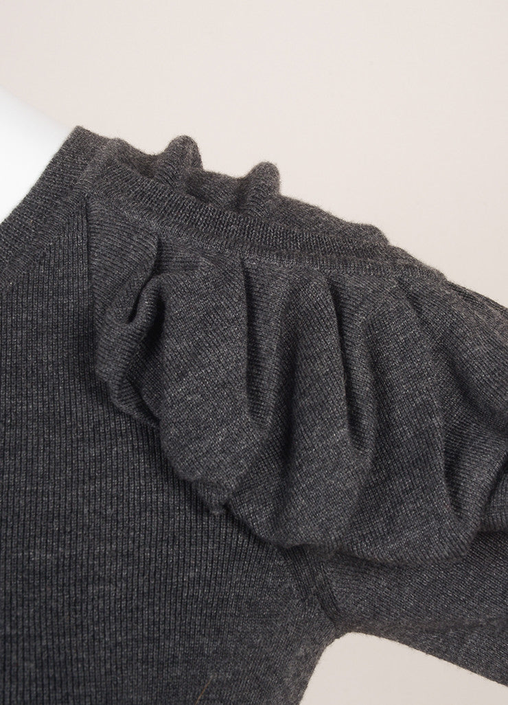 Fendi Charcoal Grey Wool Ruched Short Sleeve Fitted Dress Detail