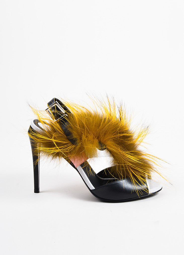 "Black Leather and Fox Fur Fendi ""Bugs Fur Monster"" Cutout Sandals Sideview"