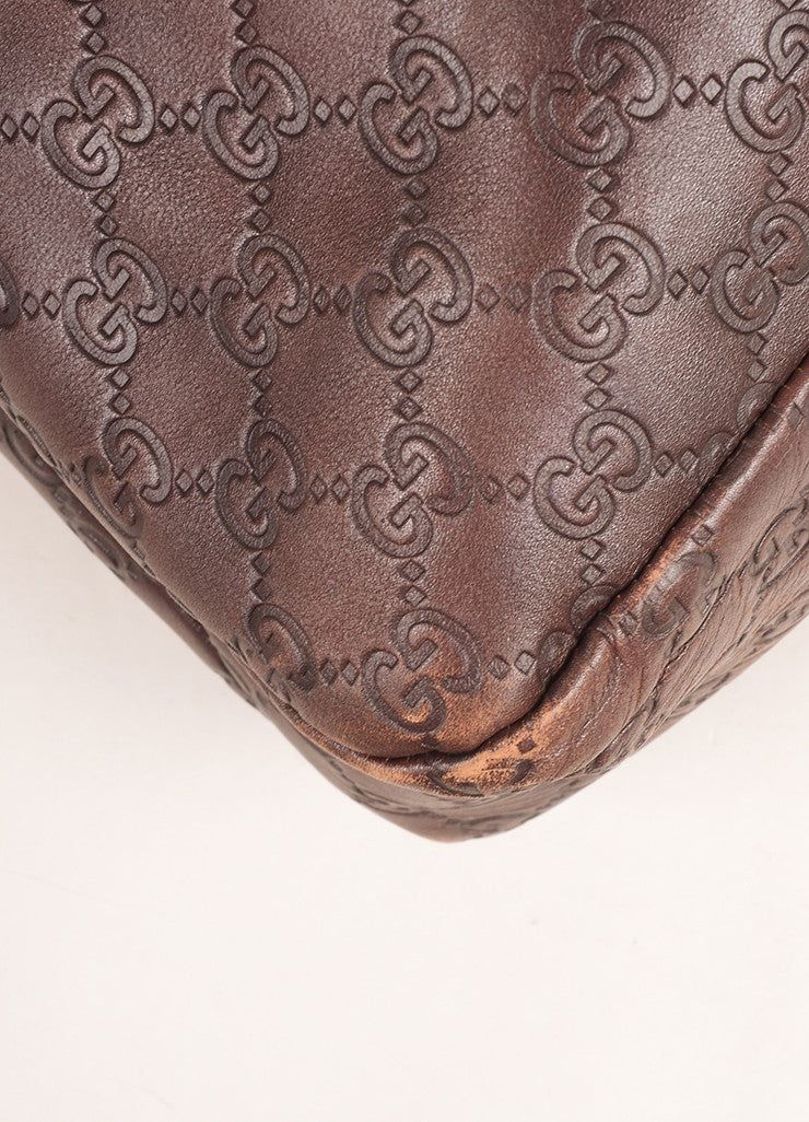 "Gucci Chocolate Brown Leather Large Horsebit ""Guccissima"" Hobo Bag Detail"
