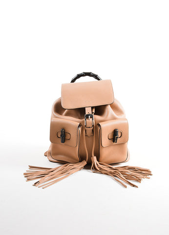 Gucci Rose Beige Grain Leather Bamboo Tassel Backpack Bag Frontview