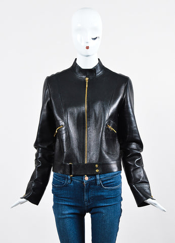 Gucci Black Leather Gold Toned Moto Zip Jacket Frontview 2