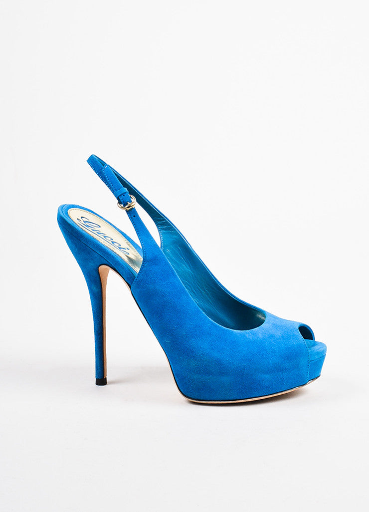 Gucci Bright Blue Suede Peep Toe Platform Slingback Pumps Sideview
