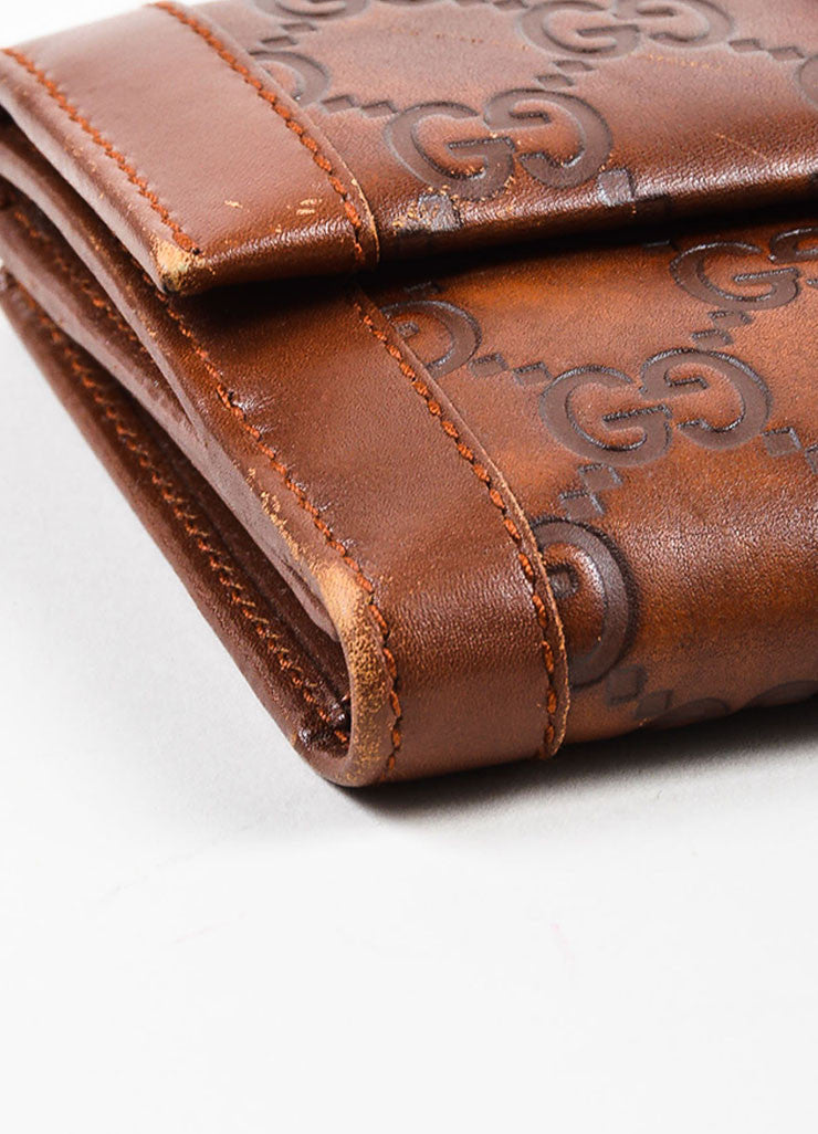 "Gucci Brown ""Guccissima"" Leather Monogram Two Sided Snap Long Wallet Detail"