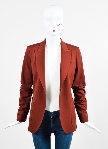 Brick Red Gucci Wool Long Sleeve Blazer Jacket Frontview