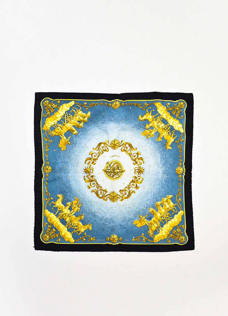 "Hermes Blue Black Yellow Gold Silk Grecian Print ""Cosmos"" Handkerchief Front"