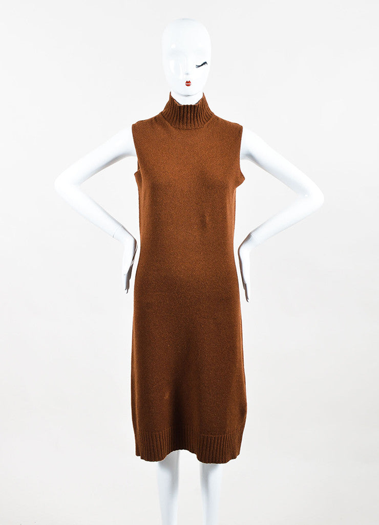 Hermes Brown Turtleneck Ribbed Trim Sleeveless Sweater Dress Frontview
