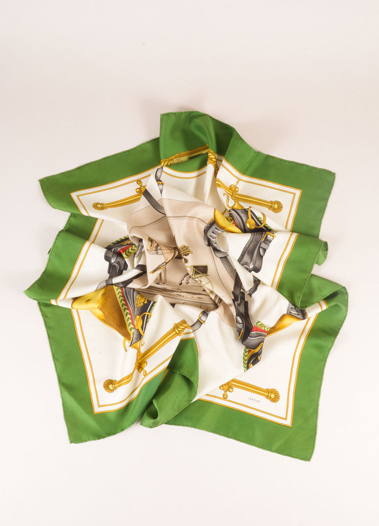"Hermes White, Gold, and Green Silk ""Carrick a Pompe"" Carriage Saddle Print Scarf Frontview"