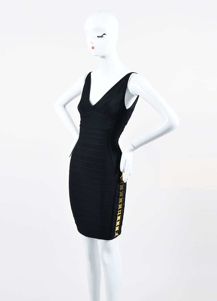 Black and Gold Herve Leger Bandage Knit Buckle Sleeveless Bodycon Dress Sideview