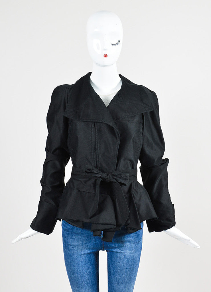 "Isabel Marant Black Button Up Peplum ""Janey"" Belted Jacket  Frontview"