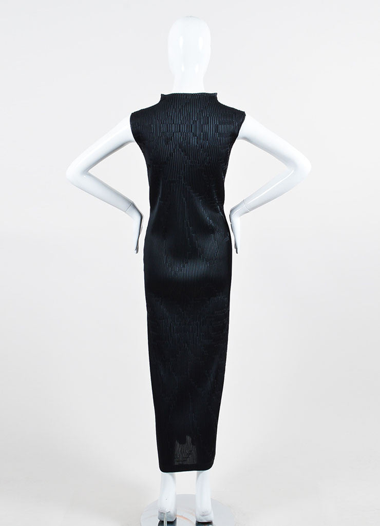 Black Issey Miyake Micro Pleat Textured Sleeveless Stand Collar Maxi Dress Backview