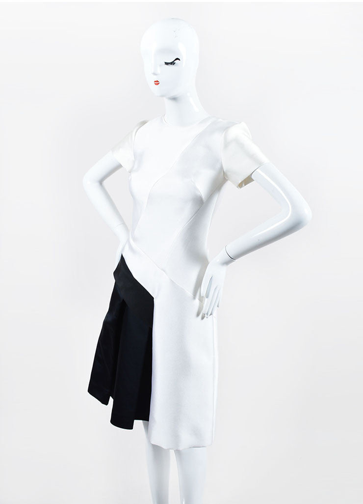 White, Black, and Navy J. Mendel Silk Scuba Short Sleeve Color Block Dress Sideview