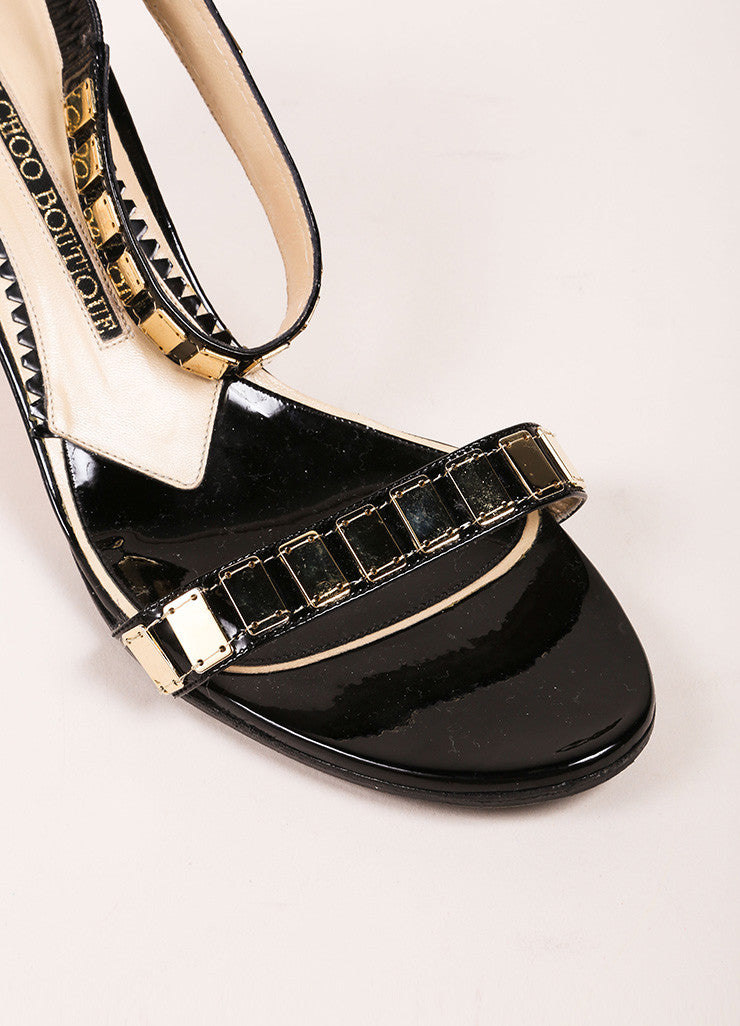 Jimmy Choo Black Patent Leather Gold Toned Embellished Ankle Strap Heels Detail
