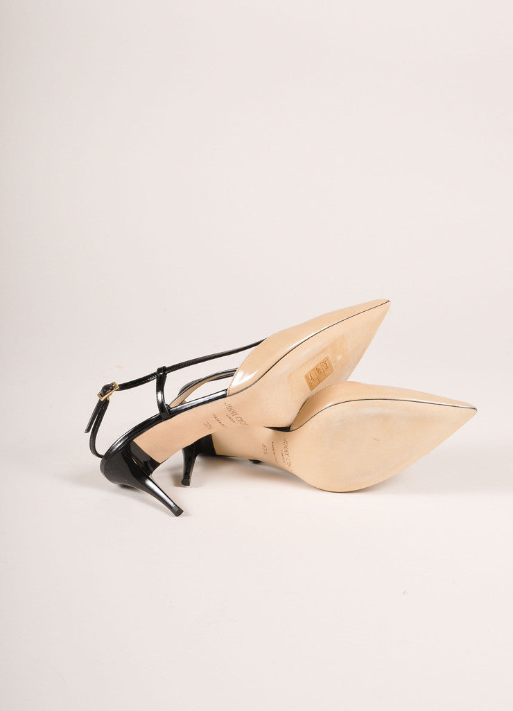 "Jimmy Choo Nude and Black Patent Leather ""Mandy"" Mid Heel Pumps Outsoles"