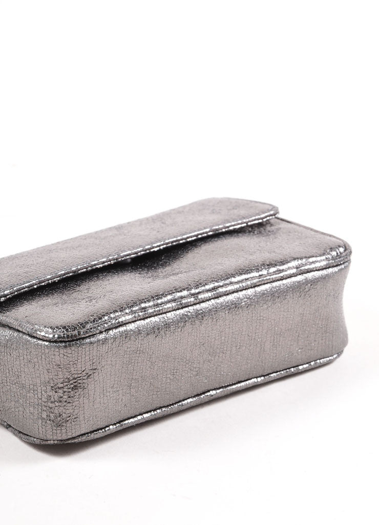Judith Leiber Grey Metallic Leather Chain Strap Clutch Bag Bottom View