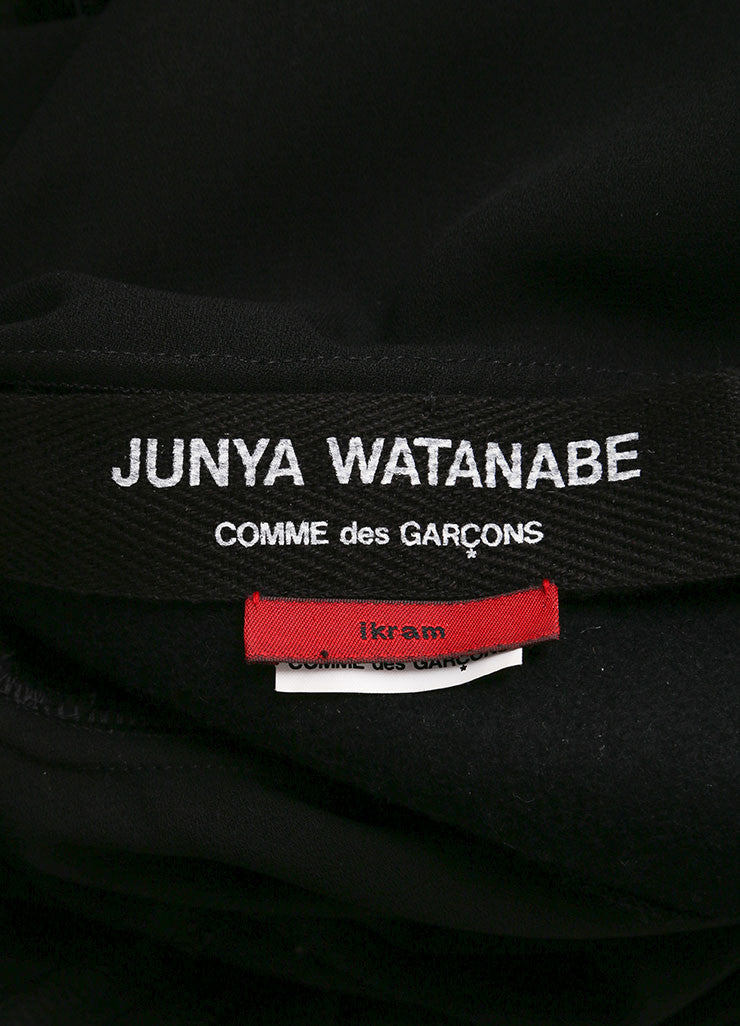 Junya Watanabe Black Knit Leather Collar Belted Moto Crop Sleeve Jacket Brand