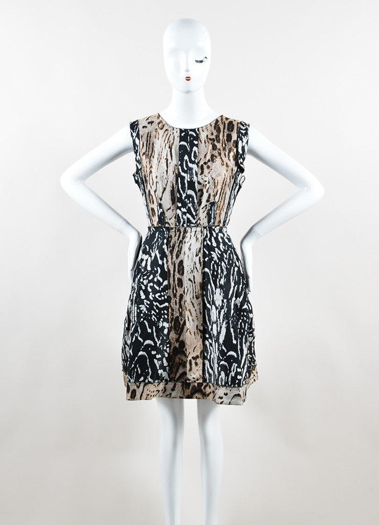 Lanvin Black and Brown Animal Print Pleated Sleeveless Dress Frontview